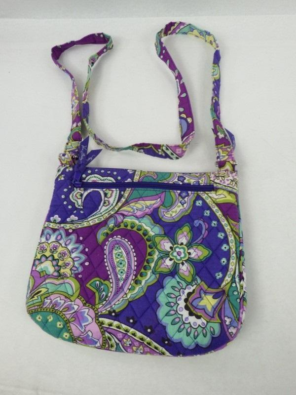 Vera Bradley Quilted Cross Body Bag Purple, Green Blue Paisley