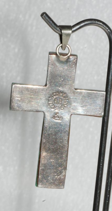 Taxco Mexico Sterling & Enamel  Modernist Cross   Marked AR