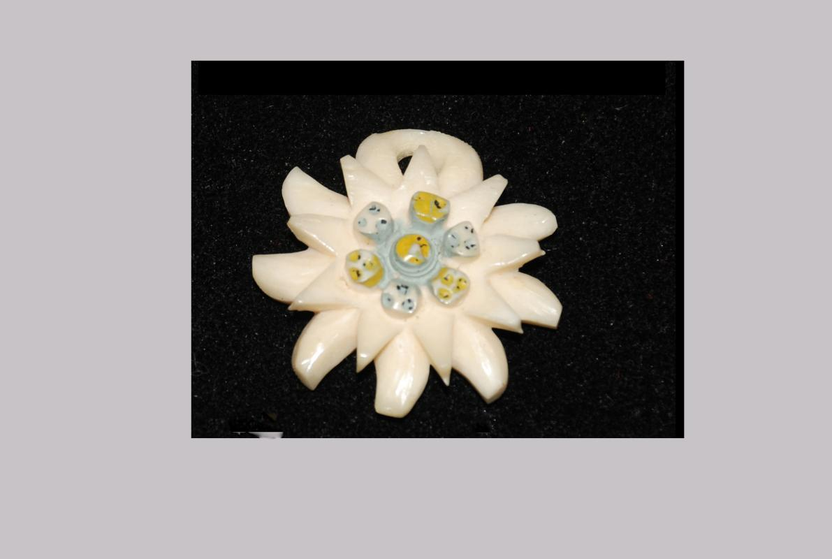 Native Alaskan Carved Painted Bone Flower Pendant with Blue Center   Ethnic Art
