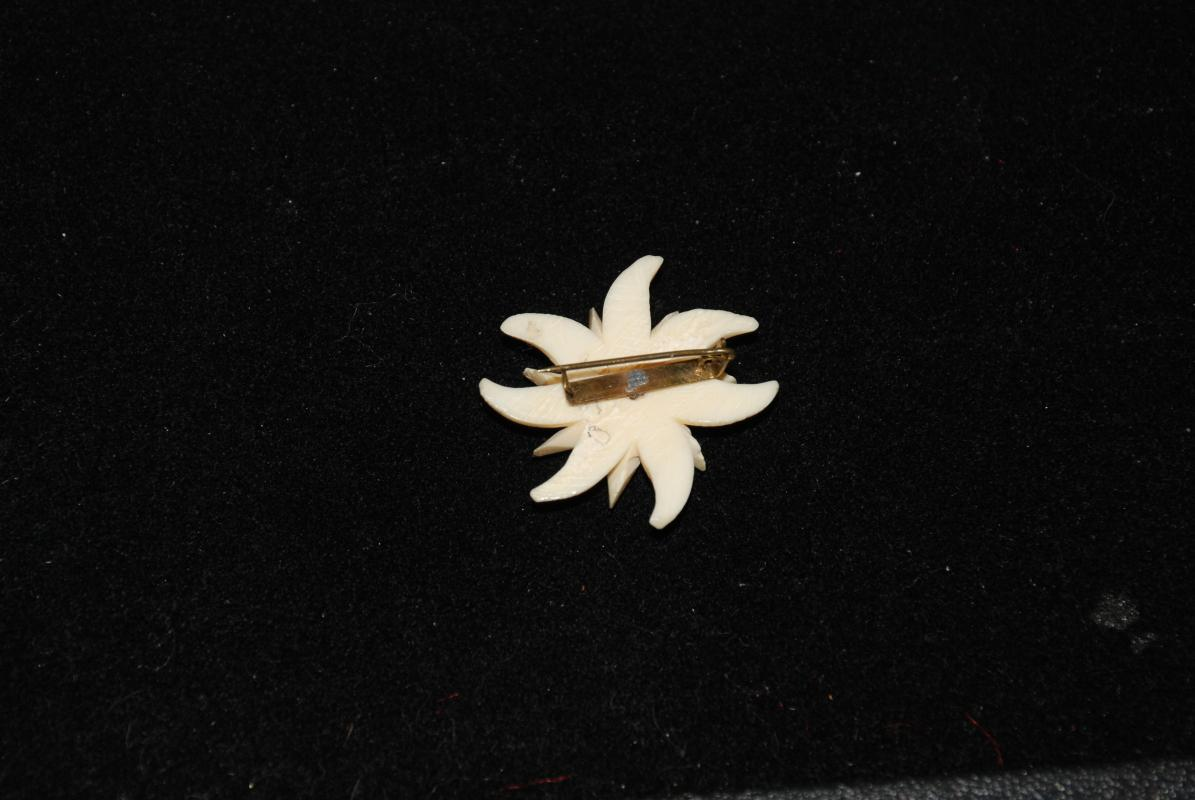 Native Alaskan Carved Painted Bone Flower Pin Brooch with Blue Center   Ethnic Art