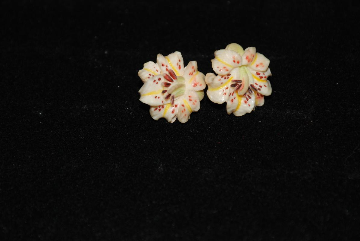 Native Alaskan Carved Painted Bone Flower Silver  Screw back Earrings with Dark Red Stamens   Ethnic Art