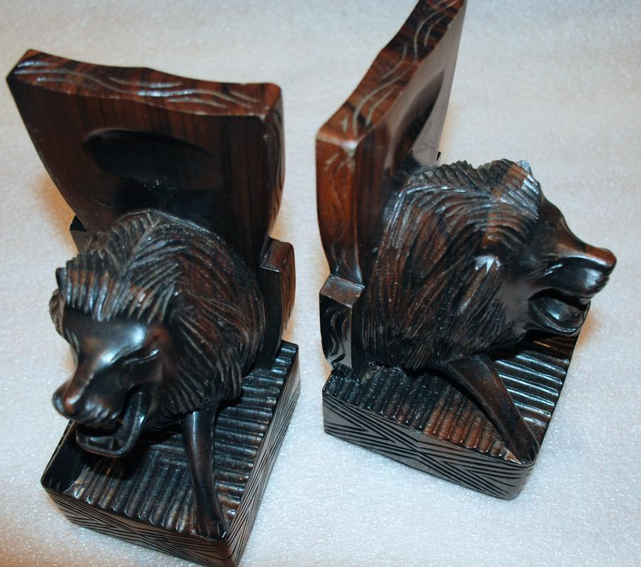 Hand Carved Hardwood  African Lion Bookends  Ethnic Art