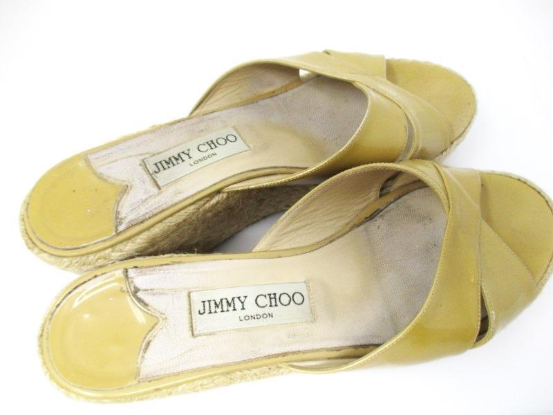 Jimmy Choo  Yellow Patent Leather Espadrille Wedge Sandals Mules, size 39