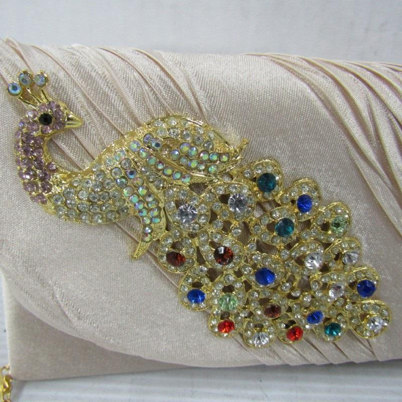 Cream/ Ivory  Satin Peacock Crystal Pleated Evening Clutch Bag with Shoulder Chain by Damara