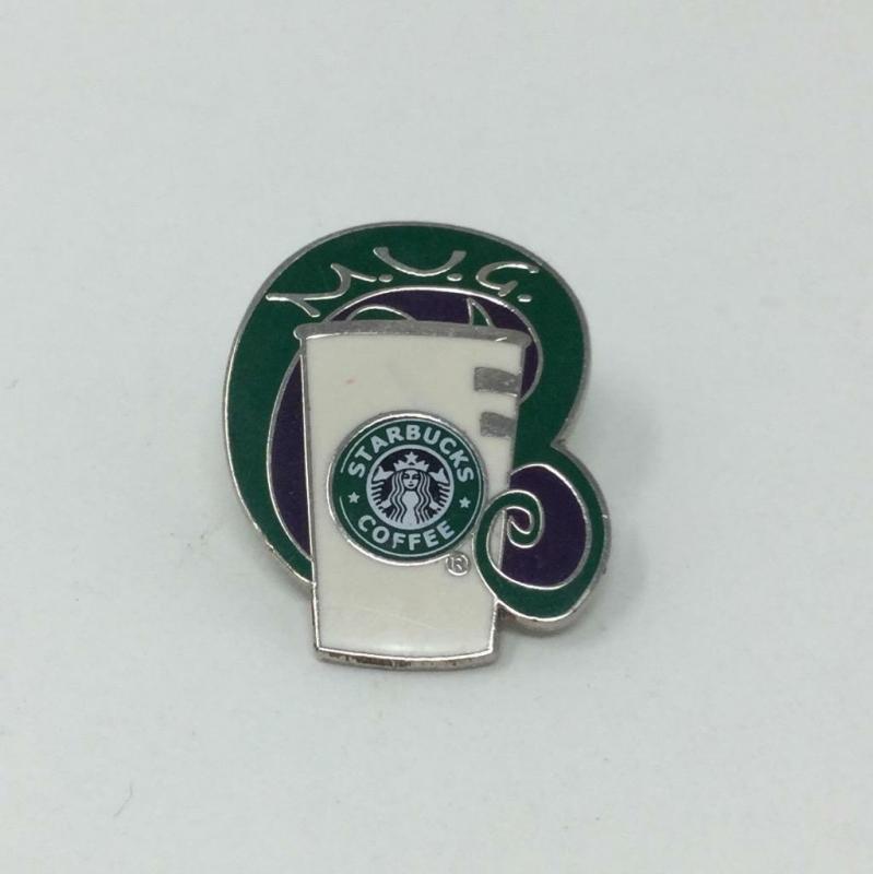 Starbucks Green M.U.G. Award Pin Coffee Cup Swirl Art