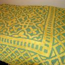 Green Yellow Chenille Bed Spread    86 x 107