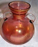 Pink Cranberry Blush  Flash Glass Jardiniere Vase