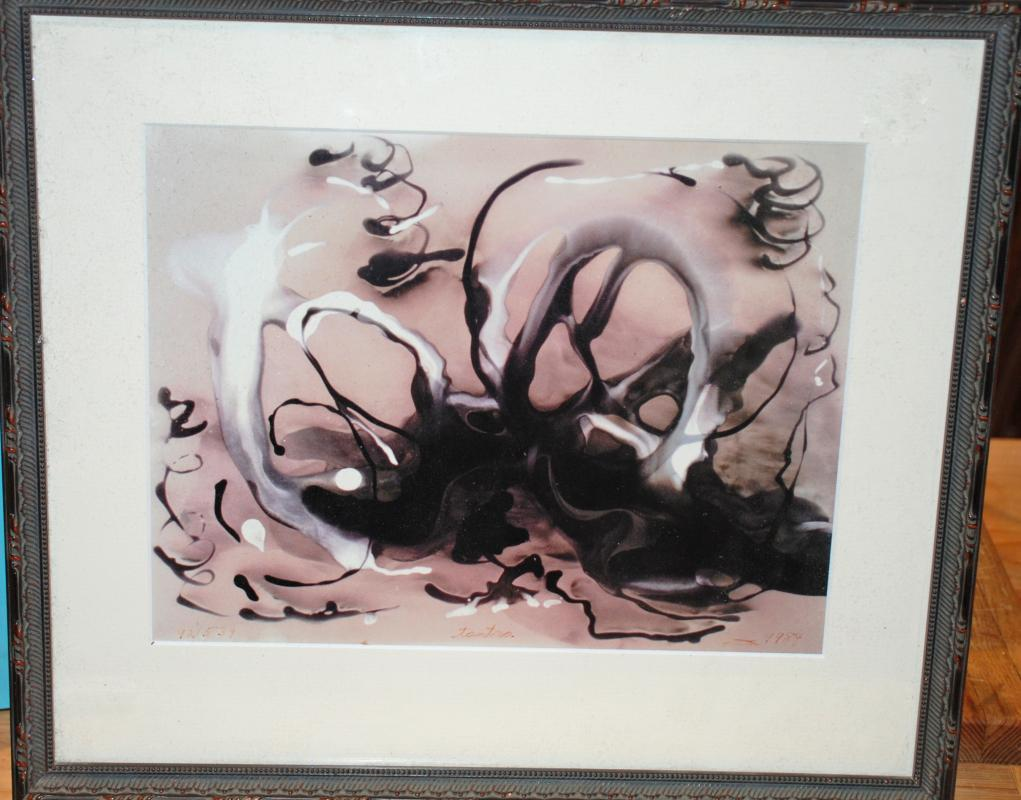 Abstract Sepia Tone Framed Art , Signed Tantra, Numbered & Dated 1984