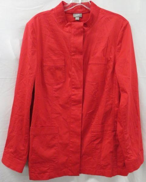 J. Jill Red Hibiscus  Button Up Tunic with Chinese Collar , Patch Pockets size L  New with Tags