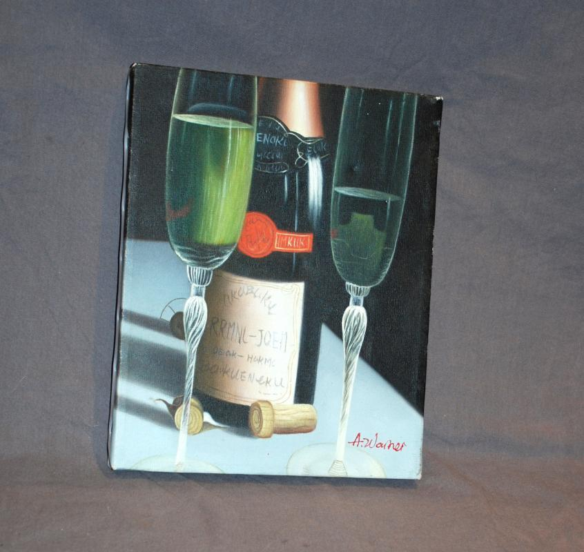 Still Life Painting of  Champagne Bottle  Glasses on Canvas signed A. Warner