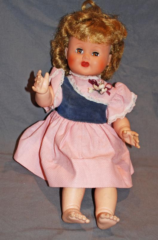 Uneeda Soft Vinyl Baby Doll, Crier, Blond Hair, Hazel Sleep Eyes