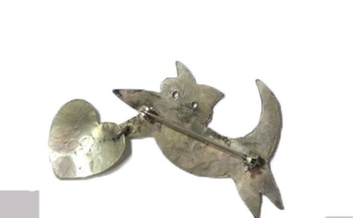 Hammered Silver Cat Holding dangle Heart , Cat Person Pin , Brooch Handcrafted