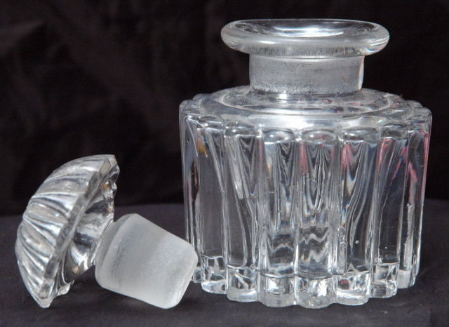 Vintage Pressed Crystal Glass Ink Bottle with Ground Glass Stopper,   Fancy