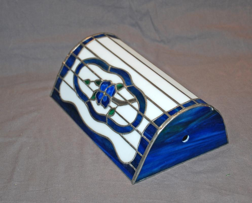 Stain Glass Lamp Shade with Flower for Banker's Desk Lamp Hand Crafted Blue and White