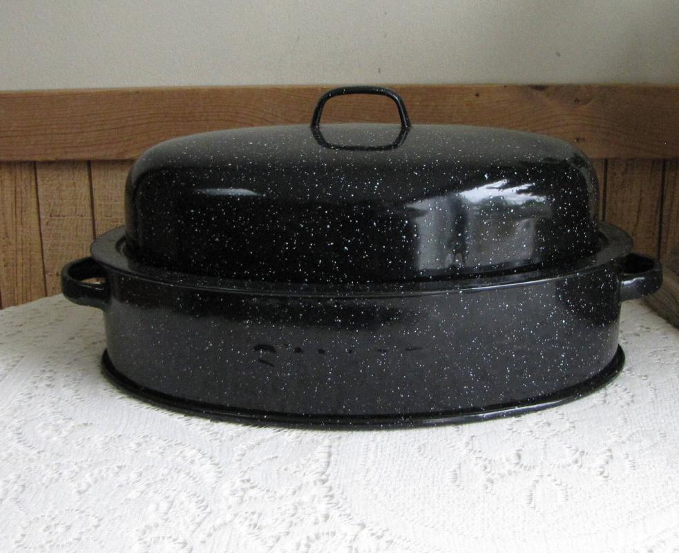 Vintage Large Savory  Dark Blue Speckled Enamel Roasting Pan