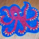 Vintage Octopus Chenille Throw Rug  32 x 28