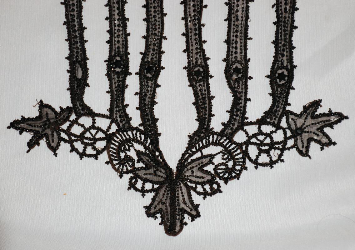 Victorian Ladies Black Jet Beaded Bodice Applique 19th Century
