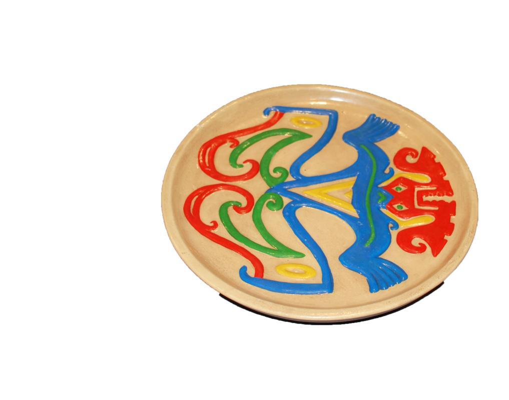Native Tribal  Latin American Panama Art Pottery Plate, Patter date 1986  Colorful Mystic Creature.