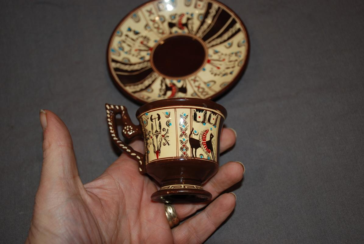 Hand Painted Demitasse Tea Cup & Saucer Souvenir from Crete with Ancient Symbols