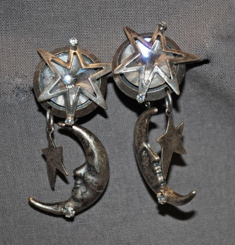 La Contessa by Mary DeMarco Moon, Stars with Crystal Clip on Earrings Free Shipping in the USA