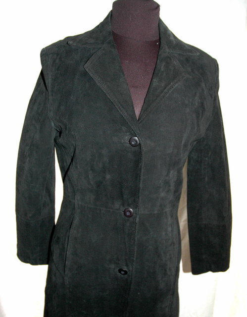 Maxi Length Black Suede Coat  size 10  by ST. Bernard