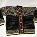 Hand knit Norwegian Cardigan Sweater with Embroidery and Silver Clasps size large Unisex