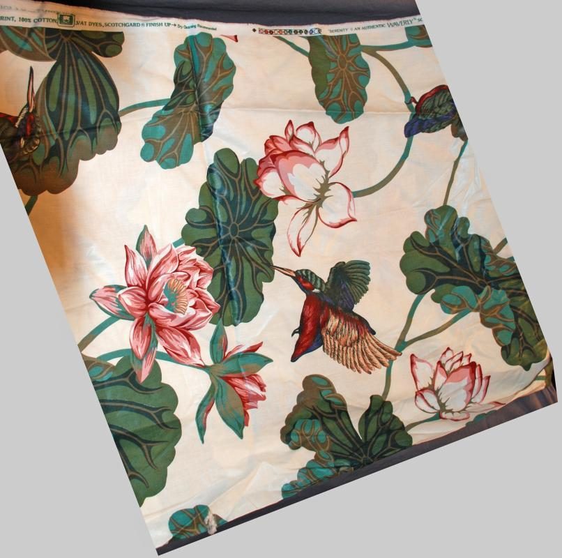 Vintage Decor Chintz Fabric Schumacher Waverly Prints Serenity Points of East Collection , Hummingbirds 55