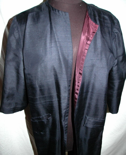Silk Dress Coat  Midnight Blue