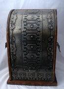 Medieval French Metal  Wood Wine or Liquor Bottle Cellarette Tote, Caddie storage cabinet Case Box
