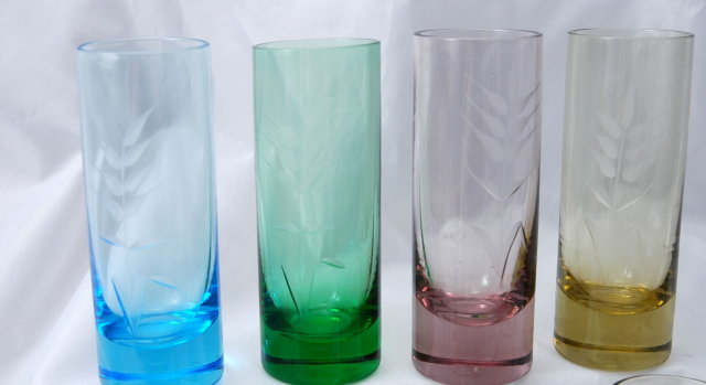 Set of 8 Liquor Cordials or Shot Glasses  Multi-  Colored &  Etched