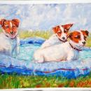 Impressionist Style Painting Jack Russell Terriers Dogs in Pool