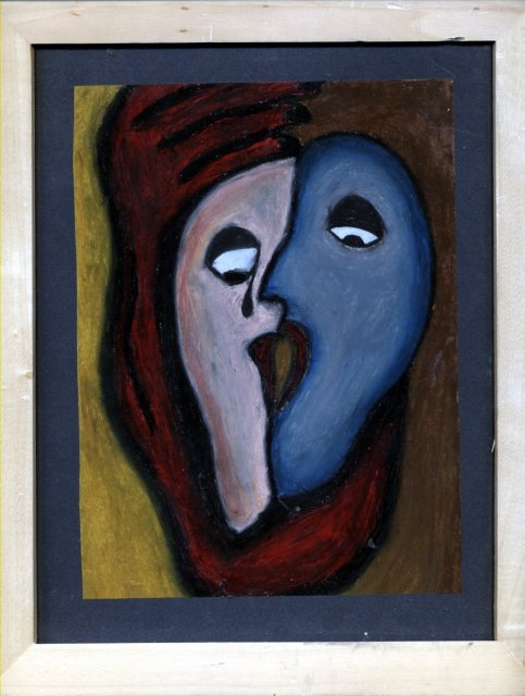 2 Faces Heart Pastel Painting Original Art