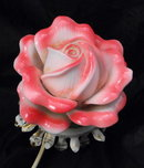 Porcelain Rose Night Light on Metal Fitting, Shabby Chic  PRICE REDUCTION!