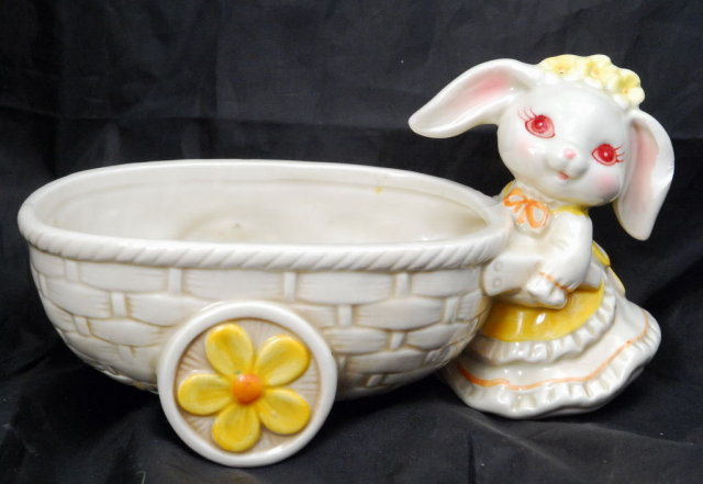 Bunny  Rabbit Pushing Cart Planter, Geo. Z. Lefton