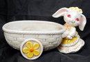 Bunny  Rabbit Pushing Cart Planter, Geo. Z. Lefton