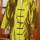 Mandarin Style Silk Top, ¾ Sleeves by Babs Design Knot & Loop Closures size 12 . Chartreuse green