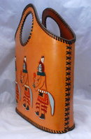 Kachina Purse , Tote Hand Bag,  Hand Tooled, Painted Leather , excellent
