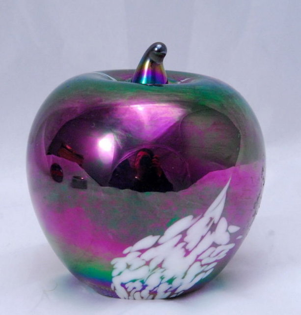 Iridescent Glass Apple Paperweight  (solid glass)