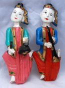 Old Asian Folk Art Wall Plaques of Painted Wood