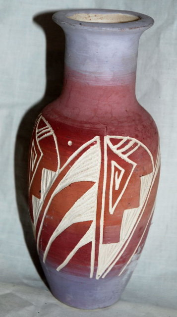 Hand made, carved Signed Navajo Pottery Vase - contemporary