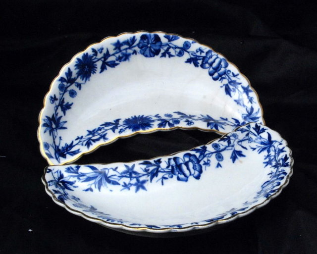Victorian  Blue White  Porcelain  Bone  Side Dishes   two matching