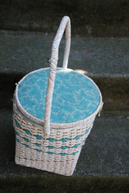 Vintage Tall Wicker Sewing Basket from the Bon Marche made in Japan