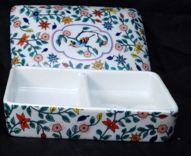 Vintage Neiman Marcus Porcelain Divided  Card Box