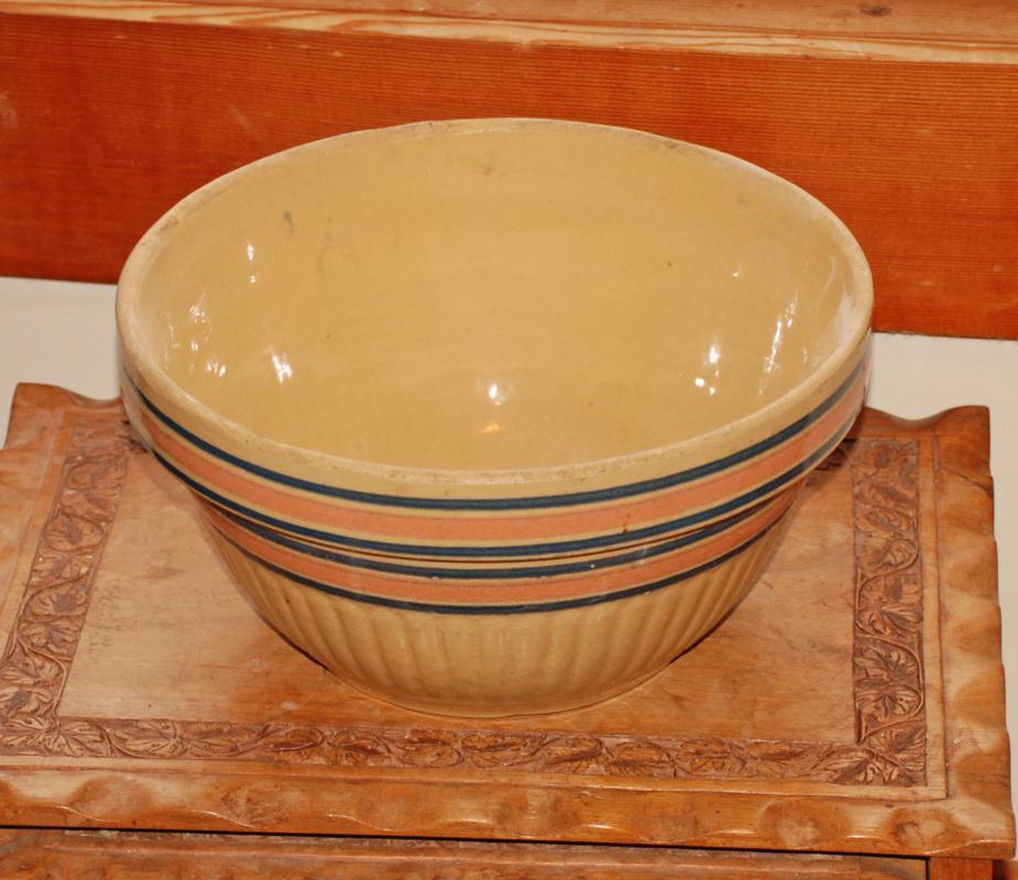 Antique Stoneware  Batter Mixing Bowl Blue/Pink  Stripe  10 1/2