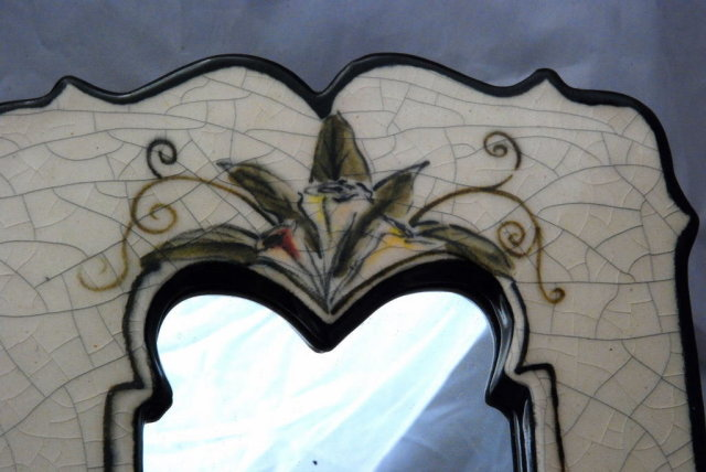 Ceramic Pottery Framed Mirror, Hand Crafted numbered & signed Gina Holts  @ Clayworks