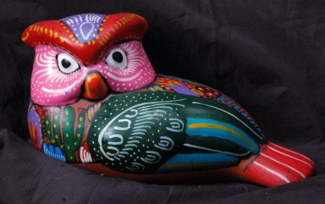 Old Mexican Terra-Cotta  Talavera Owl  Folk Art