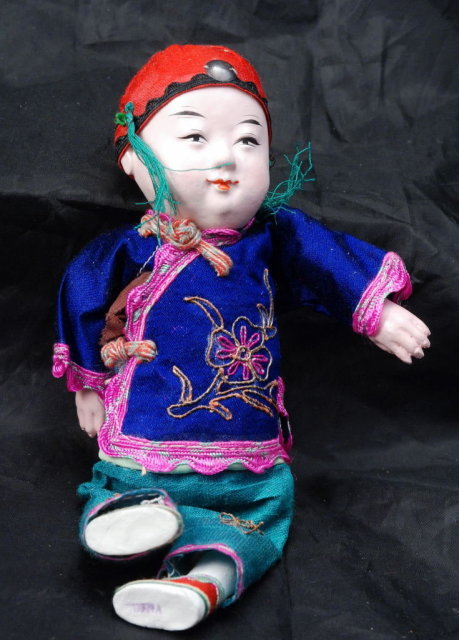 Chinese  Boy Composition Doll with Silk Clothes