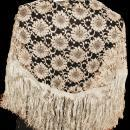 Vintage Spanish Lace Mantilla Triangle Shawl with fringe, silver gray New with tag  Chantilly Style