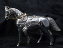 Vintage Silver Metal Horse with chain reins