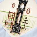 Grandfather Clock Watercolor Painting, tilted positioning,  signed